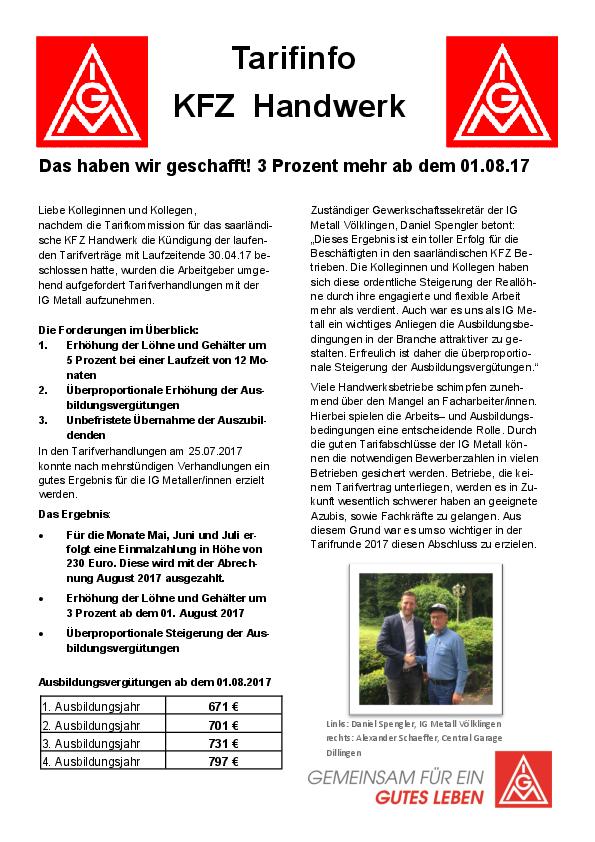 Neuer Tarifvertrag Im Saarländischen Kfz Handwerk Ig Metall