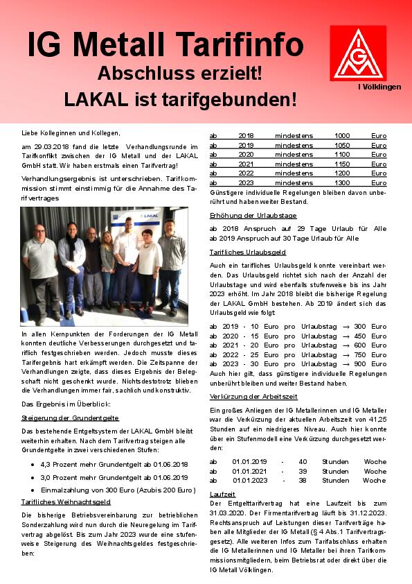 Erstmals Tarifabschluss Bei Der Lakal Gmbh Ig Metall Völklingen