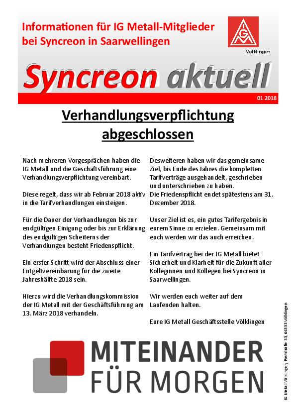 Verhandlungsverpflichtung Bei Syncreon In Saarwellingen